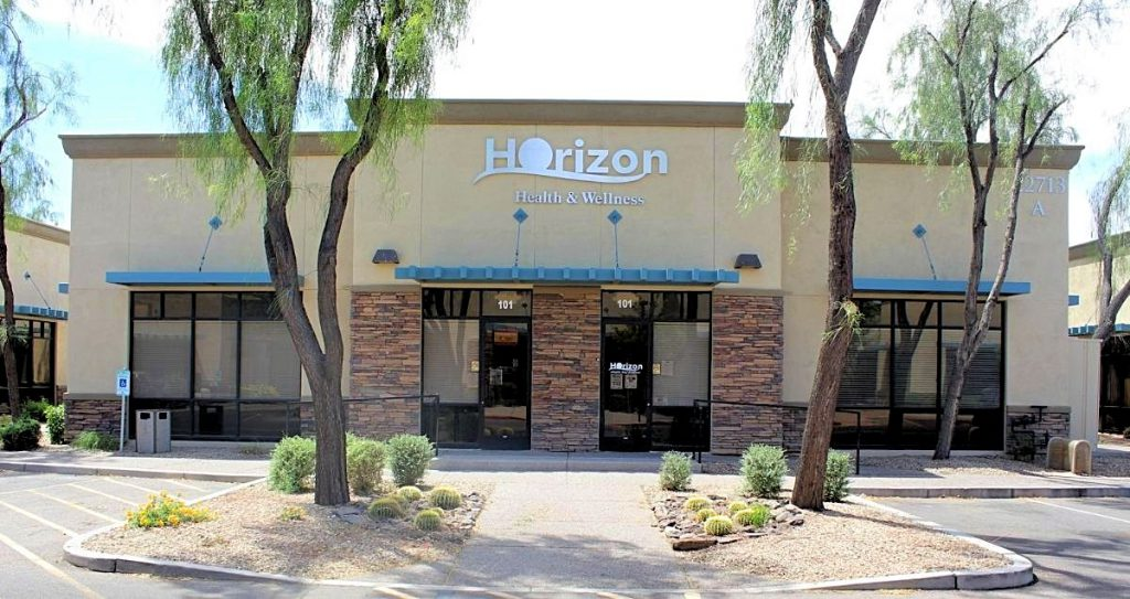 The front side of the Horizon Health and Wellness clinic in Queen Creek, Arizona.
